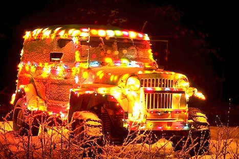 Jeep in Holiday lights