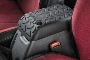 Rugged Ridge's All-Terrain Center Console cover for 1997-2001 Jeep Wrangler TJ protects console lids from damage. Photo Credit: Rugged Ridge