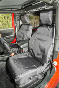 Rugged Ridge's new Ballistic Seat Covers are engineered with 840 denier ballistic nylon and fitted with zippered front seat backs for durability and fast installation. Photo Credit: Rugged Ridge