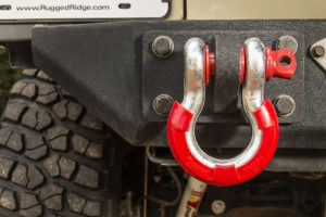 Rugged Ridge D-Ring Isolators eliminate rattling, banging, and clanging caused by D-Rings and are available in black, yellow, green, pink, and red.