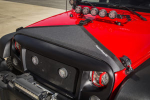 Rugged Ridge Hood Bra for JK offers attractive styling and exceptional paint protection for 2007-2017 Wrangler JK. Photo Credit: Rugged Ridge