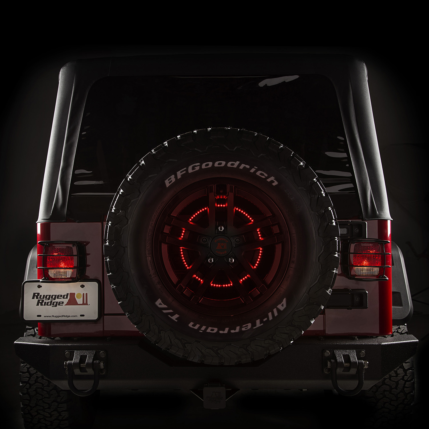 rugged ridge's circular led third brake light mounts in an adapted position  for better visibility,