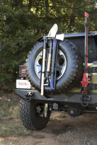 Rugged Ridge's new Recovery Tool Rack mounts off-road implements outside the cab for easy access. Photo Credit: Rugged Ridge