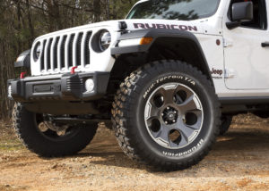 "Rugged Ridge Spartacus Front Bumper, XHD Aluminum Hood Catches and massive 20 x 9"" Drakon Wheels give the new '18 Wrangler JL an updated appearance. Photo Credit: Rugged Ridge"
