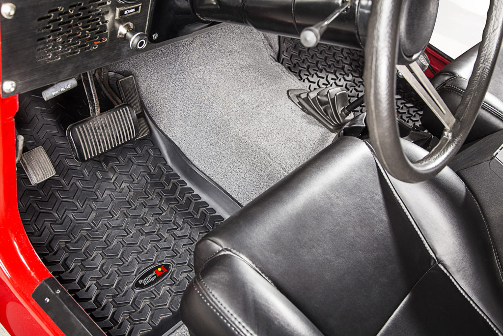 Floor Liners, Front, Black; 76-95 Jeep CJ5/CJ7/CJ8/Wrangler YJ Custom fit black All Terrain Floor Liners front pair, fits 1976-1983 CJ5 1976-1986 Jeep CJ7 and CJ8, and 1987-1995 Jeep Wrangler YJ Rugged Ridge Floor liners provide complete protection for the cabin floor of your vehicle while keeping it looking factory fresh. Each liner is perfectly contoured to your vehicle's floor for precise secure fitment (floor hook attachment where applicable). The raised lip captures all spills, water and debris keeping your interior pristine. The Chevron-shape patented Deep Tread Technology channels liquid away from your shoes keeping them dry. Made of a durable OE-quality Thermoplastic material that can withstand the rigor of daily abuse. Backed by our Limited Lifetime Warranty. Patent No. 8,163,369; D627,285; 2,699,641