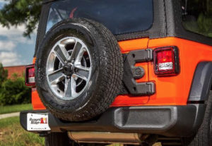 Rugged Ridge HD Tire Carrier for the '18 Jeep Wrangler JL delivers superior strength for carrying oversized spare wheel & tires.